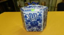 Nice Asian style porcelain blue and white lidded jar