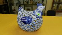 Nice Asian style porcelain blue and white chicken