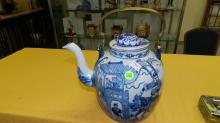 Nice Asian style porcelain blue and white tea pot