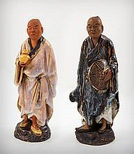 Two Chinese Qing Dynasty, Shekwan Shiwan Glazed Mudmen Figures, 19th Century