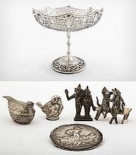 A Sterling Silver Sweetmeat Basket, Mappin & Webb, England, Sheffield, 1898, and Five Assorted Silver Miniatures