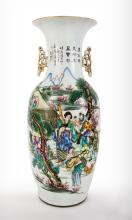 A Fine Chinese Double Sided Polychrome Porcelain Vase, 19th Century