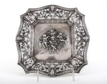 A Silver Baroque Style Decorative Plate, Latvia, Late 19th Century