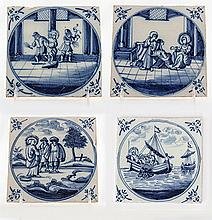 Four Blue and White Glazed Delft Tiles with Scenes from the New Testament - Scenes from the Life of Jesus, 18th Century, Nederland