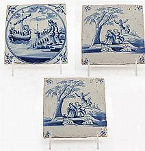 Three Blue and White Glazed Delft Tiles with Scenes from the New Testament - Scenes from the Life of Jesus, 18th Century, Nederland