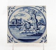 A Blue and White Glazed Delft Tile with a Biblical Scene - Yocheved and Moses at the Banks of the Nile, 18th Century, Nederland
