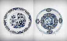Two Blue and White Chinoiserie Delft Plate, 17th-18th Century, Nederland