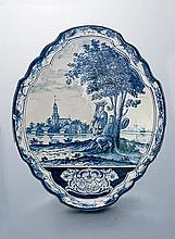A Large Blue and White Delft Wall Plaque, 18th Century, Nederland