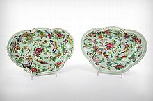 A Pair of Chinese Export Celadon and Famille Rose Butterfly-Shaped Porcelain Chargers, Late 19th Century