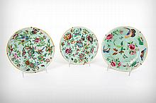 Three Chinese Export Celadon and Famille Rose Porcelain Chargers, Late 19th Century