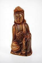 A Chinese Rhinoceros Horn Bodhisattva Statue, 19th Century