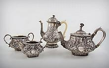 A Silver and Ivory Tea and Coffee Repousse Set by Joshua & William Reid, England, London, 1827-1828