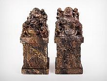 A Pair of Chinese Hardstone Laughing Buddha Statues, 19th Century