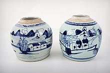 A Pair of Chinese Blue and White Porcelain Ginger Jars, Early 19th Century