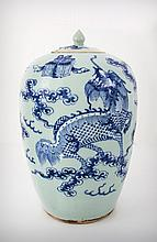 A Chinese Blue and White Porcelain Lidded Jar, Early 19th Century