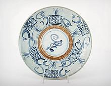 A Large Chinese Swatow Late Ming Dynasty Blue and White Porcelain Dish, Early 17th Century