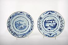 Two Chinese Qianlong Dynasty (1711-1799) Blue and White Porcelain Plates, Early 18th Century