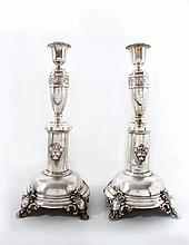 A Pair of Large Silver Candlesticks, Austro-Hungary, Late 19th Century