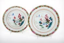 A Pair of Chinese Export Famile Rose Polychrome Porcelain Plates, 18th Century