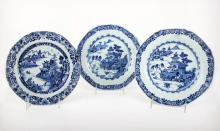 Three Chinese Blue and White Porcelain Plates, 18th Century