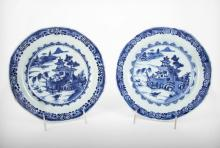 Two Chinese Blue and White Porcelain Plates, 18th Century