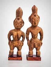 A Pair of Yoruba-Egba Male and Female Ancestor