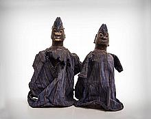 A Pair of Yoruba Clothed Ancestor Protection