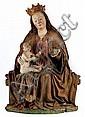 Bedeutende, museale Schnitzfigur einer thronenden Madonna mit dem Kind