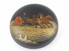 A Russian lacquer circular box, the lid with