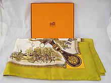 A boxed Hermes scarf '' Grands Attelages'', approx