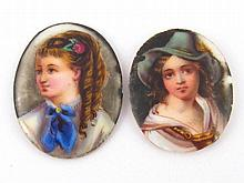 Two hand painted miniatures on porcelain of a boy