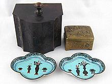 An Oriental brass box with cast appliques of