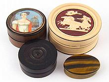Four boxes. A turned hardwood with screwed thread,