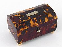 An early 20th. c. tortoiseshell miniature chest