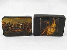 An early 19th. c. ebonised composition box, the