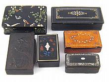 Six various composition boxes with inlaid or