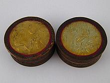 A pair of early 19th. c. circular boxes in formed