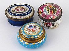 Three early 19th. c. enamel boxes one with