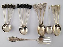 Silver. 17 various coffee spoons, including ten