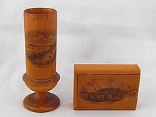 Mauchlinware. A vesta box, the sliding lid with