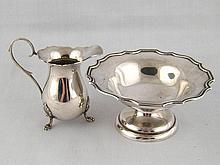 Silver. A Georgian style cream jug on claw feet,