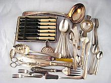 A quantity of silver plated flatware, including