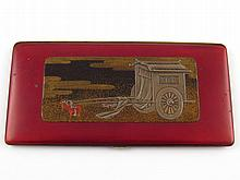 A Japanese lacquered cigarette case, approx 18 x9