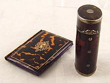 An antique silver mounted tortoiseshell box,