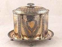 A Victorian silver plated shaped oval biscuit