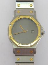 CARTIER Santos, a mid size stainless steel and gold automatic wristwatch, no.296642613, the signed metallic grey dial with gold sword hands, and date aperture at 3 o'clock, 30mm diameter, to a block link bracelet with deployant clasp