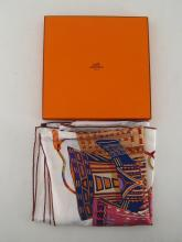 HERMES, a 'Voyage en Etoffes' silk scarf by Anne Faivre, 88cm, in original Hermes box