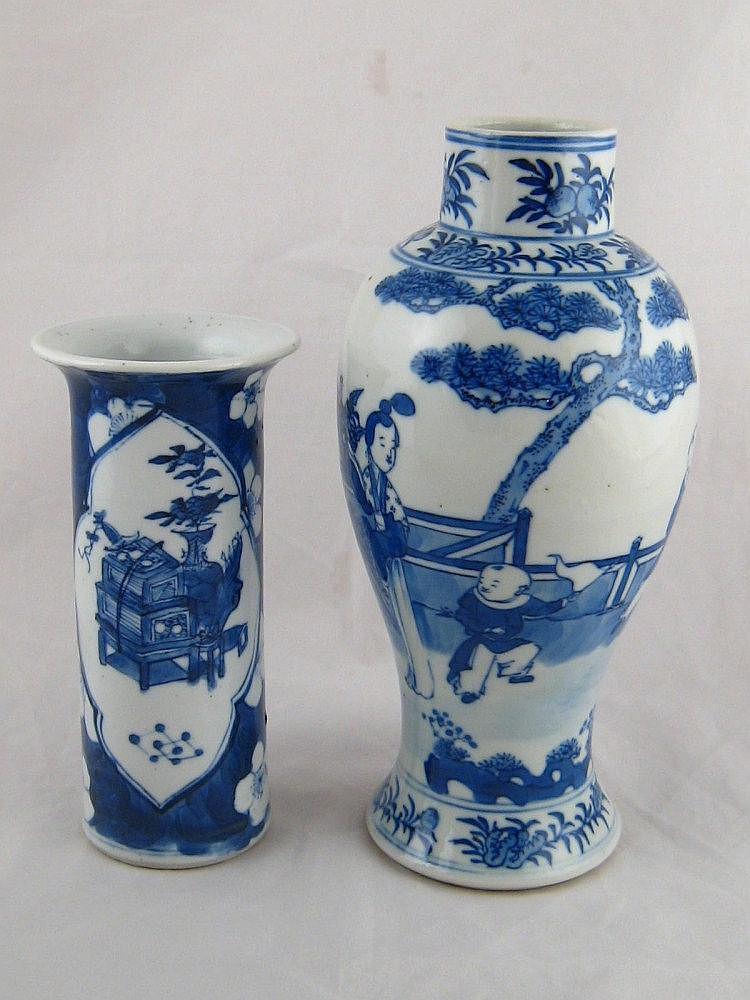 Two blue and white Chinese ceramic vases, one with
