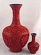 Two Chinese incised red lacquer vases, one 31cm,