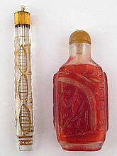 A Chinese cut glass snuff bottle, approx. 8cm, and